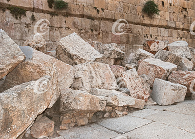 Detail of Second Temple Ruins at the Western Wall in Jerusalem