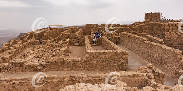 Tourists Visit the Storerooms Complex at the Masada in Israel