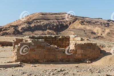 Entrance Guard Tower of the Saharonim Caravanserai in the Ramon Crater in Israel