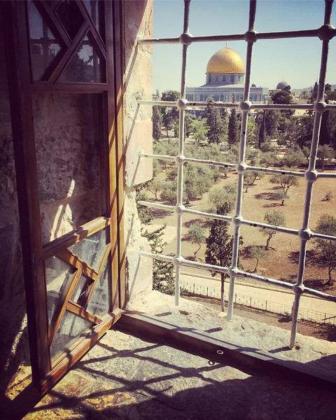 The Dome of the Rock from a Palestinian school. 2016.