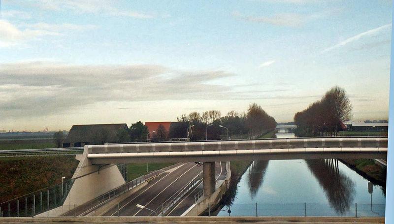 Bridge, farm, canal, trees