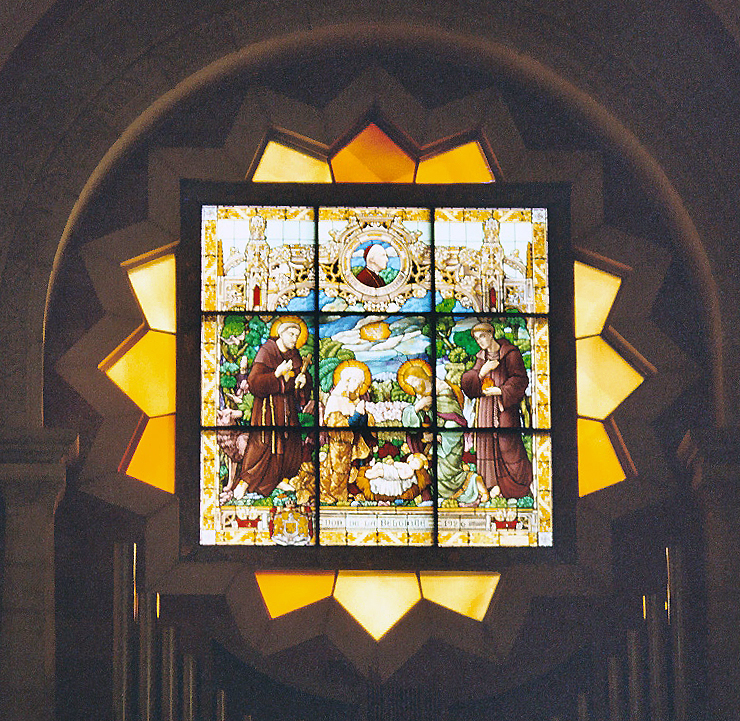 Nativity window in the Church of St. Catherine of Alexandria, next to the Shrine of the Nativity .
