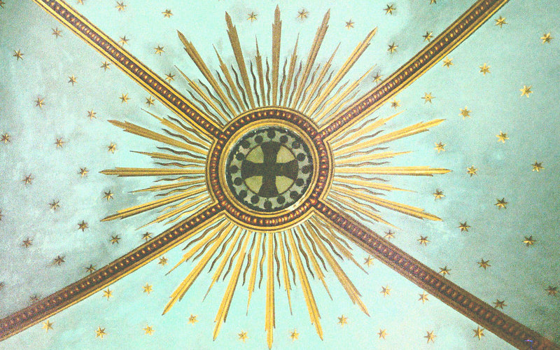 Carmelite cross ceiling motif