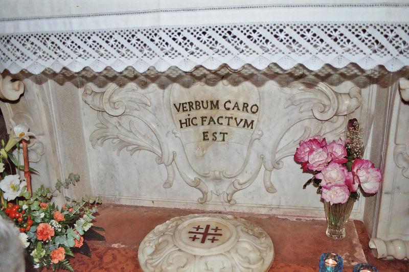 Here the Word was made flesh. Verbum Caro Hic Factum Est.