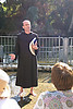 Father Thomas Koller barefoot like most of the rest of us in the River Jordan. Photo by Nancy Chlebnik.