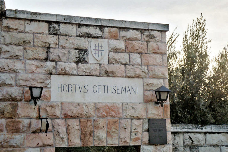 "Hortus Gethsemani: On a tape of JPII praying the rosary in Latin rosary that I play in my car every day, the Sorrovful Mysteries begin with these words: ""Horto Gethsemani ora."" In the garden of Gethesemane, He prayed."""