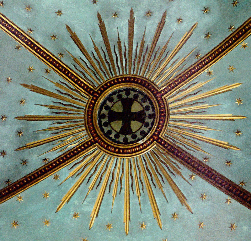 "Carmelite cross ceiling motif at  Stella Maris church.  The first members of the Carmelite Order were penitents who had come to the Holy Land during the Crusades. One evening, we hiked up to the ruins of the monastery the monks built in the Wadi al Siah.  After about 100 years, the Muslims took back Mount Carmel from the Christian monks. The monks who did not flee to Europe were slaughtered, and the valley where they lived is now called the Valley of the Martyrs. The monks were inspired to live on Mount Carmel by the Scriptural accounts of Elijah the prophet (1 Kings 18). From the beginning the monks were devoted to the Mother of God, calling themselves the Brothers of Our Lady of Mount Carmel. and ancient visitors reported the existence of a chapel dedicated to her.  Following is a link to a new agey site that has a Mt. Carmel page with great pictures and a map of the archeological finds at the site of the first monastery: <a href=""http://essenes.net/carmel.html"">http://essenes.net/carmel.html</a>. Even though things asserted as facts on the Internet must be taken with a grain of salt, it is interesting that the Essene site states that the original Crusader monks found a small Byzantine monastery when they arrived on Mount Carmel, and that the Byzantines reported that their predecessors had found Jewish Christians when they had first arrived. The Jewish Christians had been living on the mountain since the time of Christ. And to take the thread even further back, the Jewish Christian community claimed to be the spiritual heirs of a Jewish monastic order that had been living on the mountain since the time of Elijah and the school of the prophets at that very site.  The first day we were there we went to El Muhraqa, the place of the burning, which is where Elijah had his face off with the prophets of Baal. No pictures of that site survived the burning Xrays that clouded eight or more photos out of every roll in my suitcase."