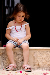 Girl visiting Bet Jamal Monastery