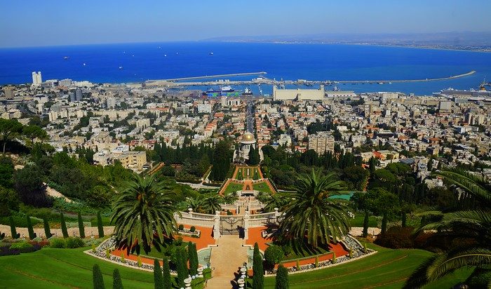 Visiting the Baha'i Gardens and Temple in Haifa, Israel.