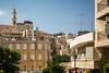 City skyline and street scene in Bethlehem, Israel, Middle East.