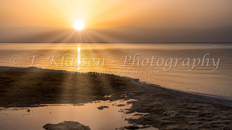 The shoreline of the Dead Sea in Israel, Middle East.