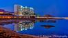 The Crowne Plaza Dead Sea Hotel at night in Ein Bokek, Israel, Middle East.