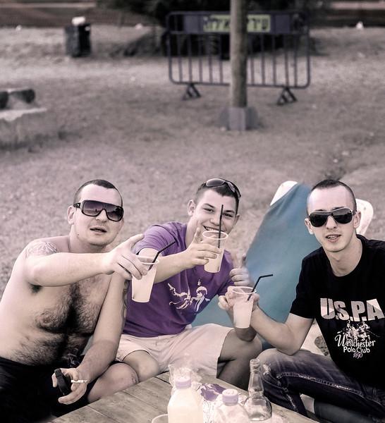 Three Young Men, Beach, Eilat, Israel