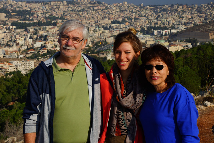 With my mom and dad in Israel.