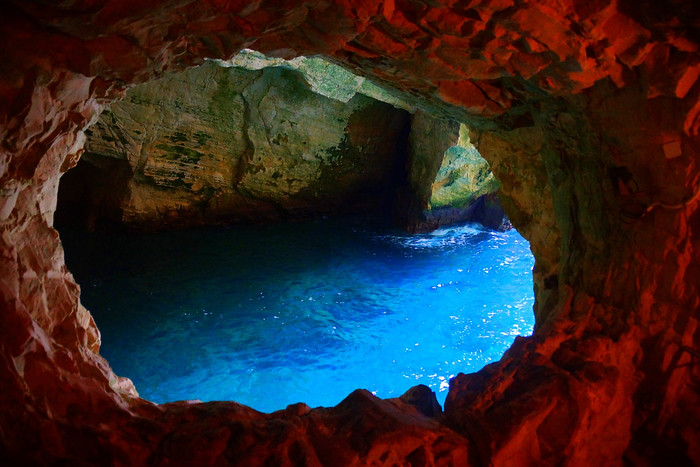 The grottoes of Rosh Hanikra where the water glows a shade of azure.