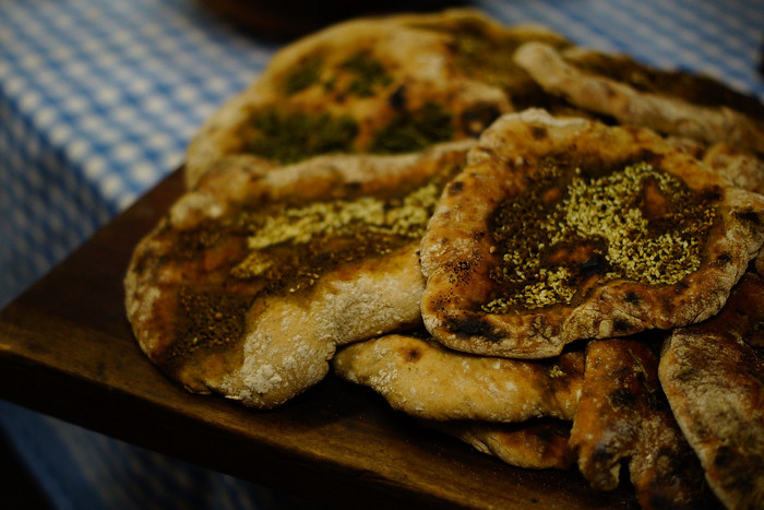 Homemade pita bread with zaatar.