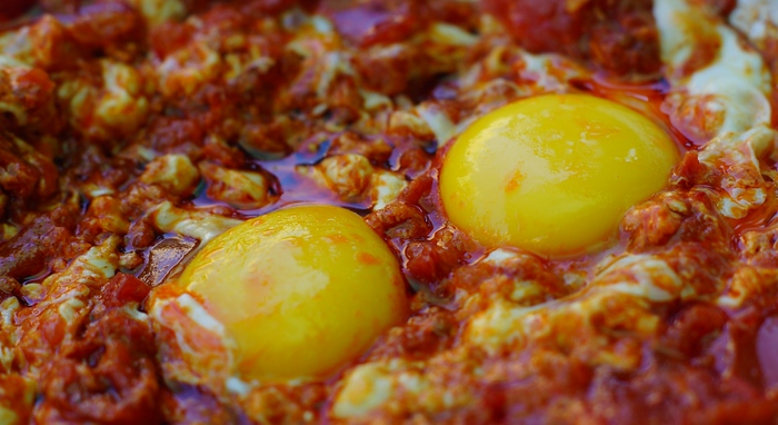 Shakshouka: and Israeli dish made with tomato sauce and eggs.