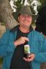 Pastor Tim Mason preparing the wine for communion on Mt. of Olivess