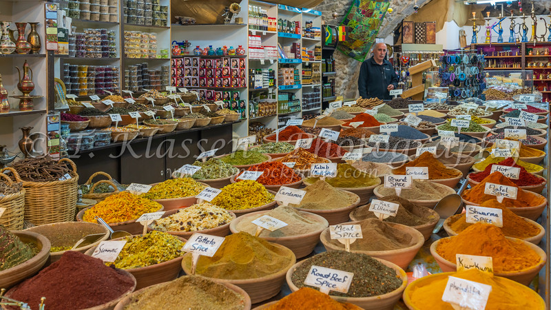 A shop selling spices in the old city of Jerusalem, Israel, Middle East.