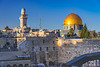 Dome of the Rock and Western Wall view of the Temple Mount in Jerusalem, Israel, Middle East.