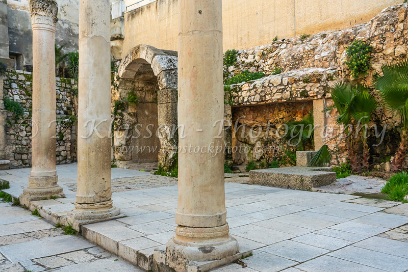 A the archeological ruins of the historical Cardo in the Jewish Quarter, Jerusalem, Israel, Middle East.