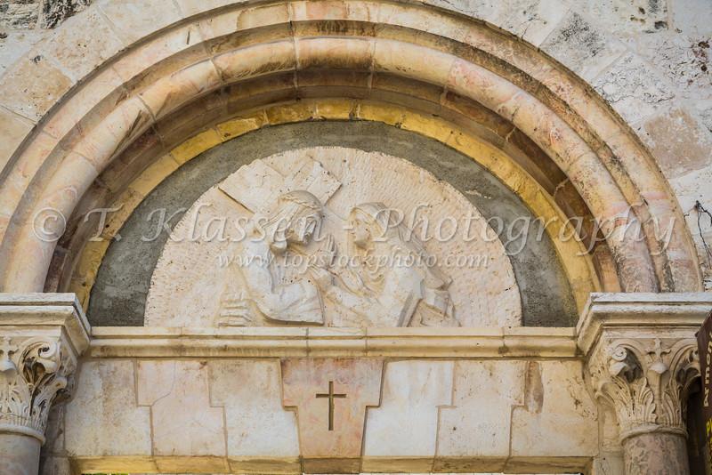 Catholic icons along the Via Dolorosa in Jerusalem, Israel, Middle East.