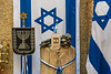 Israeli flags for sale at a shop in the Jewish Quarter, Jeruslaem, Israel, Middle East.