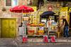 A fruit juice shop along on the steet along the Via Dolorosa in Jerusalem, Israel, Middle East.