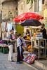 A fruit juice kiosk in the Arab Souq in Jerusalem, Israel, Middle East.