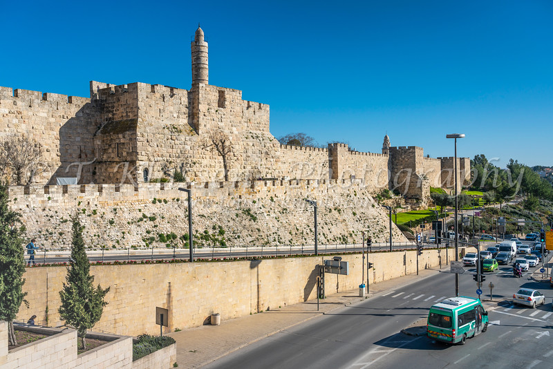 A view of the old city walls near the Jaffa Gate, Jerusalem, Israel, Middle East.