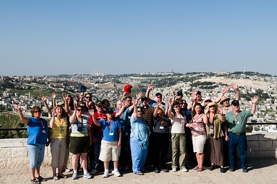 Tabernacle Baptist Church (Dahlgren VA) Tour Group on the Jesus Bus in Israel.  Jerusalem city in the background.  Do  you see the Temple Mound?