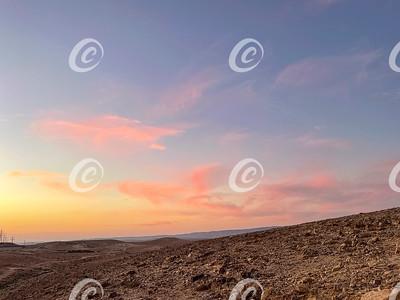 A Pastel Sunset in the Judean Desert near Arad in Israel