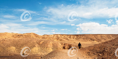 Hiker Headed Toward the Red Canyon in the Eilat Mountains