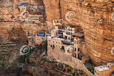 Detail of the Ancient Saint George's Monastery in Wadi Qelt in the West Bank