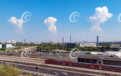 Luna Park with Thunder Clouds over the Tel Aviv Israel Skyline