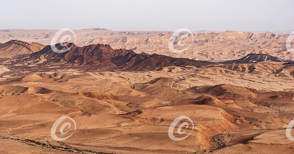 Aerial Closeup of Shen Ramon Ramon's Tooth in the Makhtesh Ramon Crater in Israel