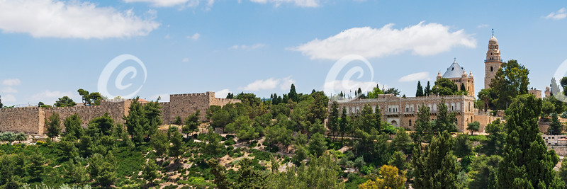 Old City Walls of Jerusalem and the Abbey of the Dormition on Mt Zion