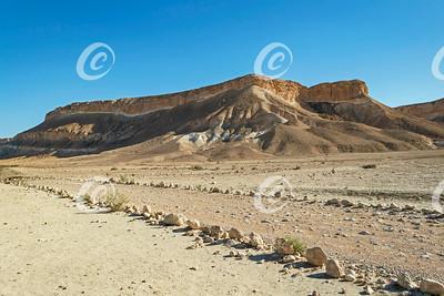 A Colorful Barren Bluff in Nahal Zin in Israel's Negev Desert Highlands