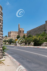 Signs are in English as well as Hebrew and Arabic. The Tower of David in Jerusalem During Corona Pandemic.