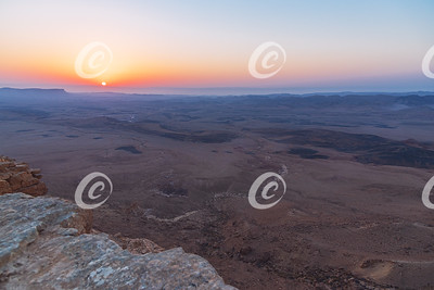 Fiery Sunrise Over the Makhtesh Ramon Crater in Israel