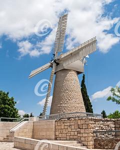 Ancient Historic Windmill in Jerusalem in Israel