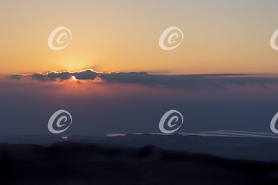 Sunrise over the Dead Sea from Arad in Israel