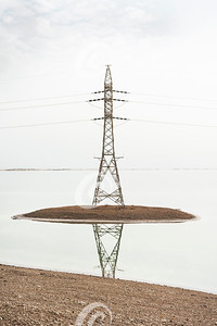 High Voltage Power Tower in the Dead Sea in Israel
