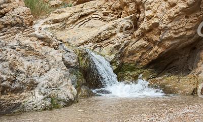 Small Waterfall in the Nahal Bokek Stream Bed near the Dead Sea in Israel