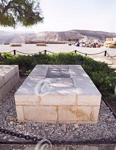 Tombstone of David Ben Gurion above the Zin Valley in Israel