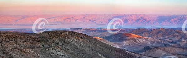 Panorama of the Sun Setting on the Moav Mountains of Jordan
