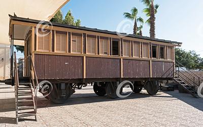 Historic Ottoman Era Wooden Passenger Train Car in Israel