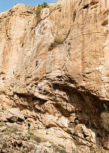 Rock Climber Scaling a Cliff near Ein Prat in Wadi Qelt