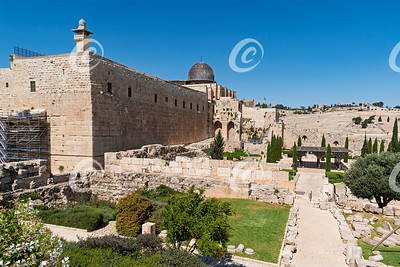 Southern Wall of Temple Mount and the Mount of Olives in Jerusalem