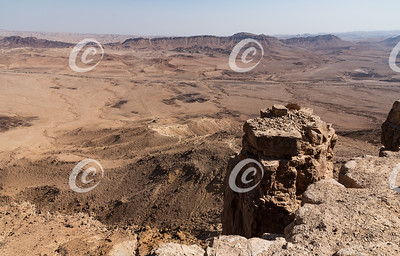 A Limestone Tower at the Edge of the Ramon Crater in Israel